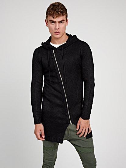 Longline cardigan with asymmetrical zipper