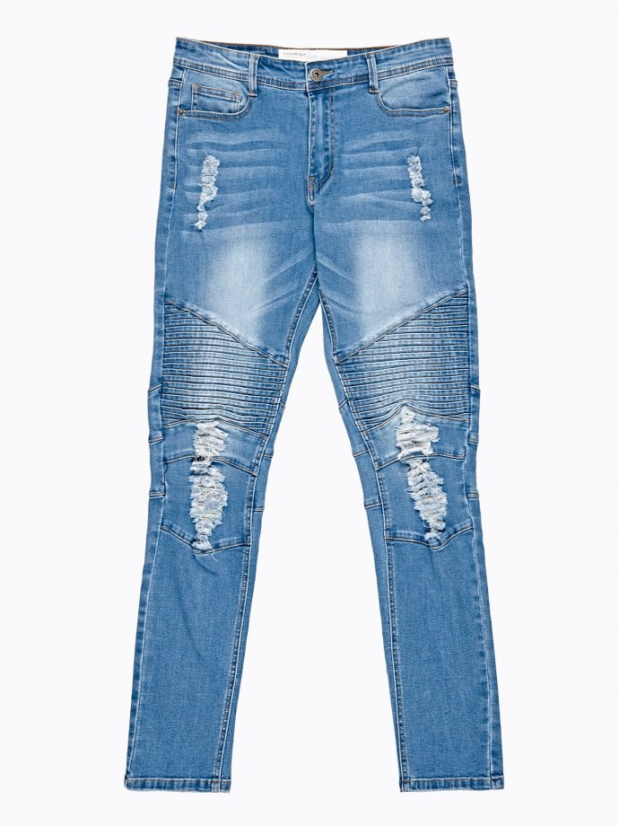 Biker slim fit jeans in mid blue wash