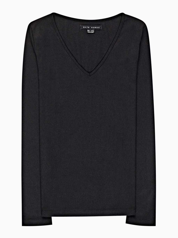 Rebrované tričko s véčkovým výstrihom