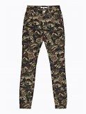 Camo & flower print skinny trousers
