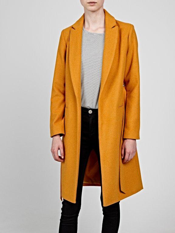Longline belted plain coat
