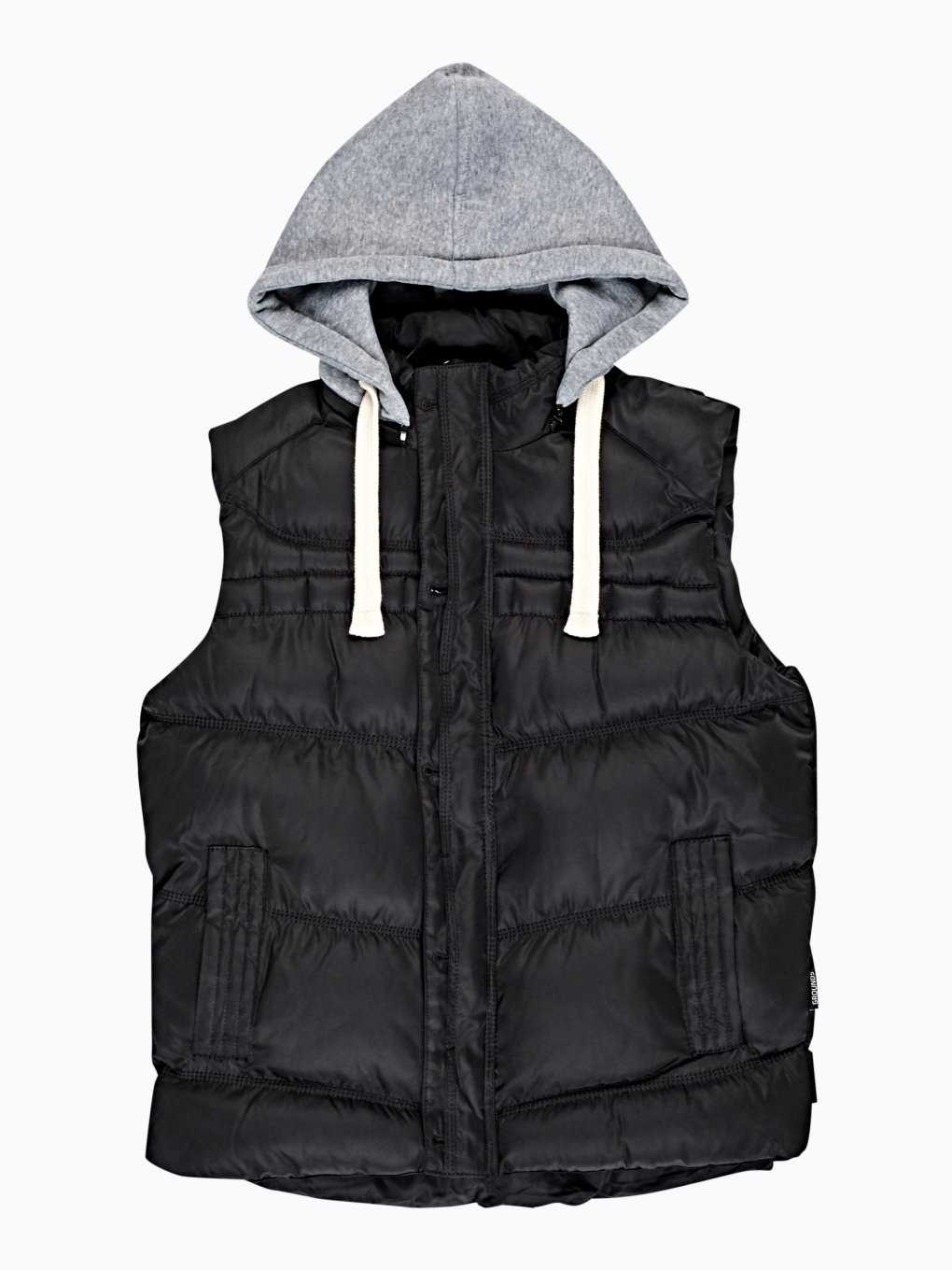 Quilted vest with jersey hood