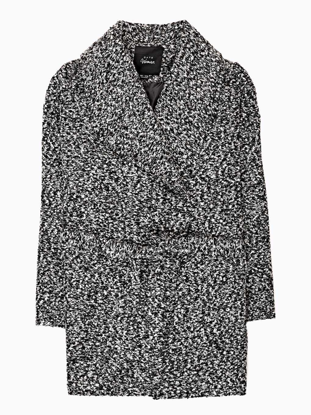 Marled coat with belt