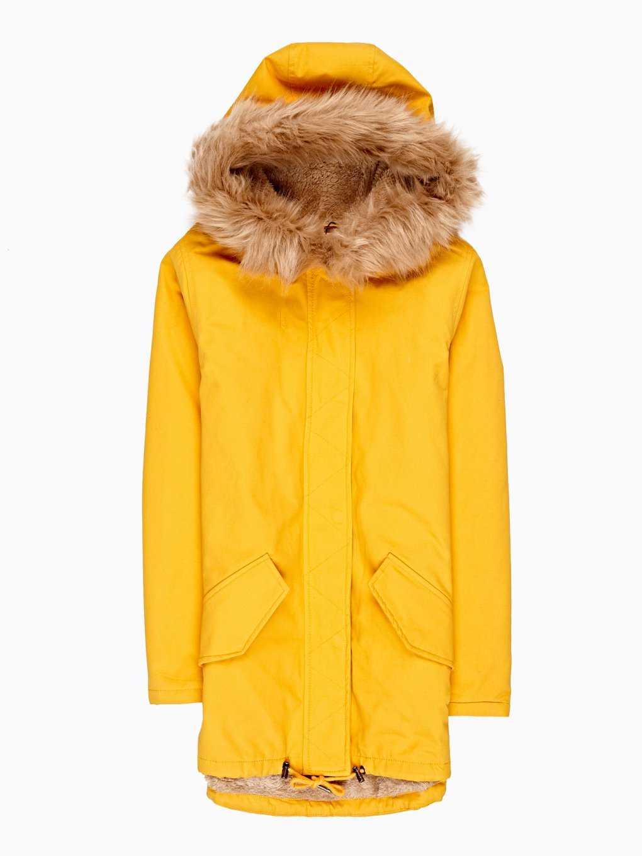 Faux fur lined cotton parka
