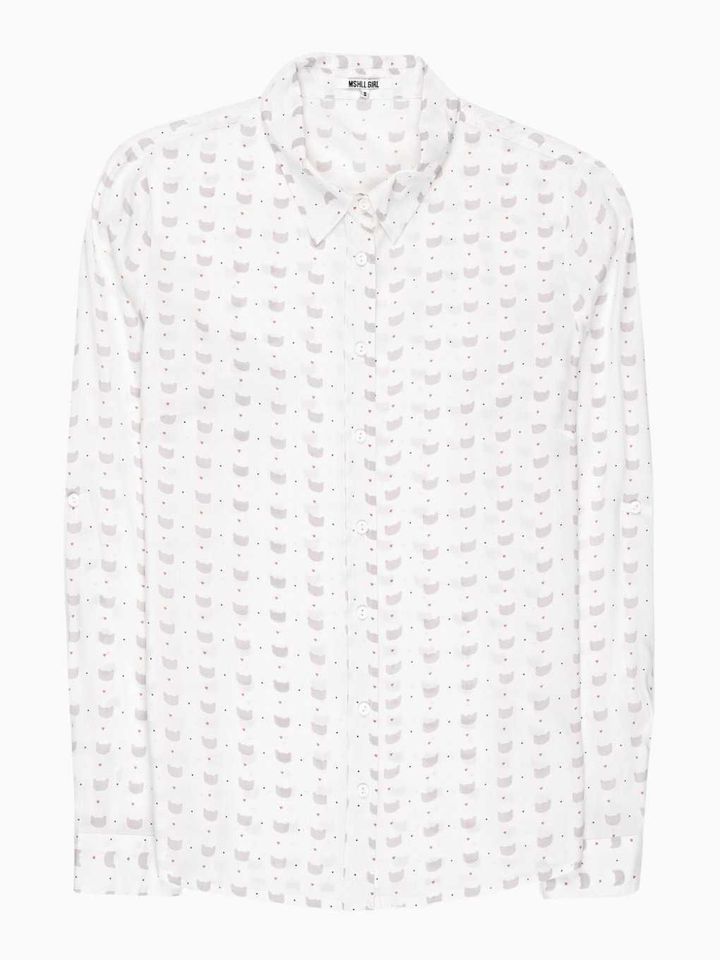 Kitty & hearts print viscose shirt