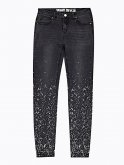 Skinny jeans with metallic print