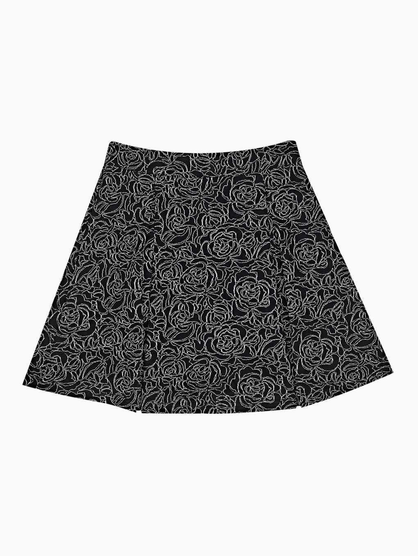 Floral patterned skater skirt with metallic fibre