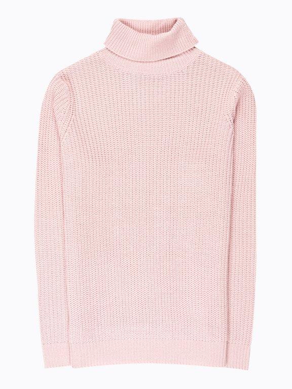 Turtle neck rib-knit jumper