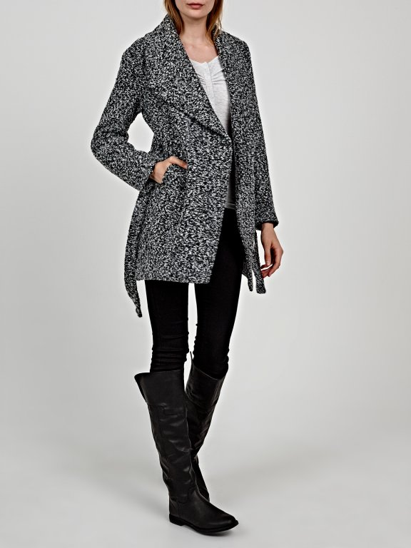 Marled coat with belt