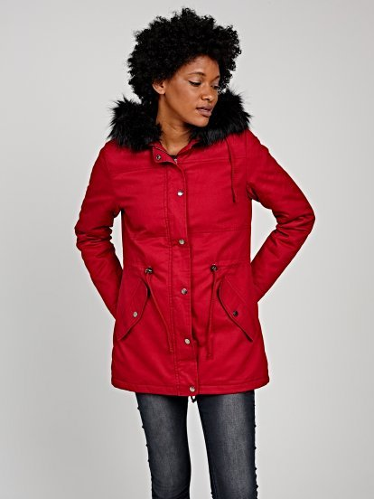 Padded cotton parka with removable faux fur