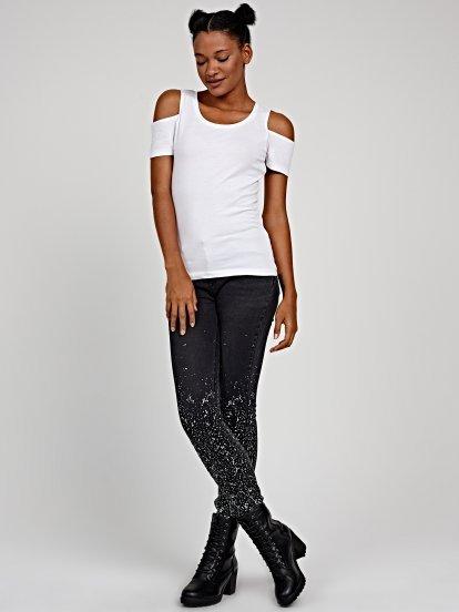 Skinny jeans with metallic print