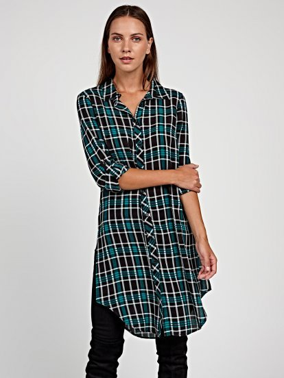 Longline viscose plaid shirt