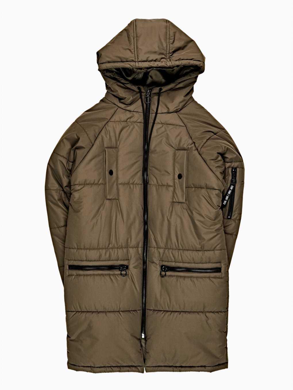 Długa pikowana watowana kurtka