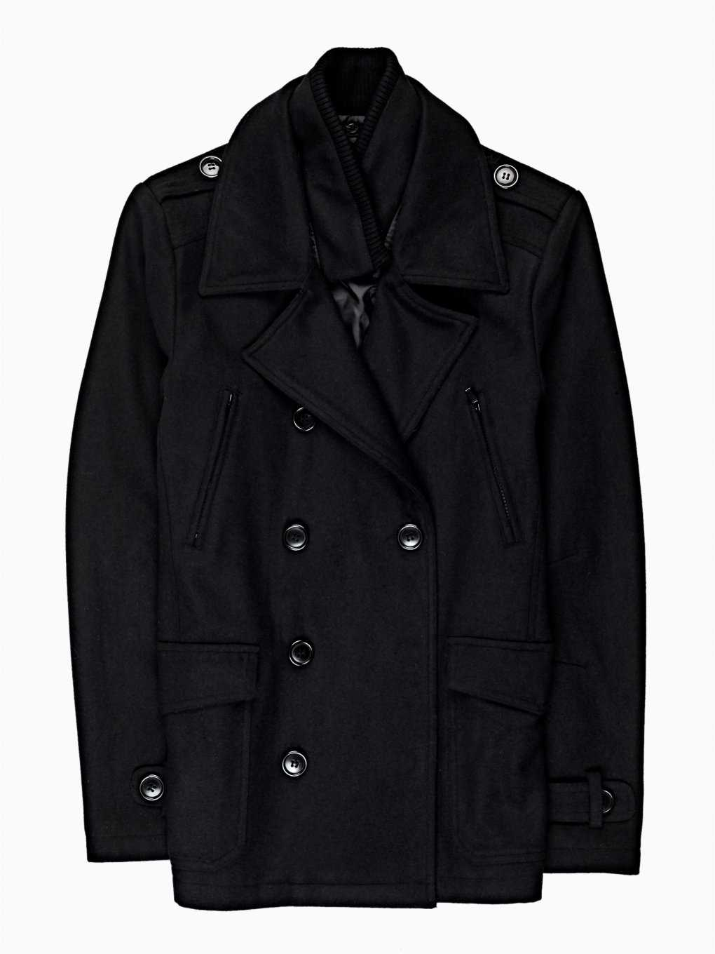 PEA COAT WITH RIB COLLAR