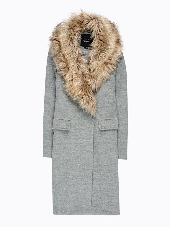 Longline plain coat with removable fur