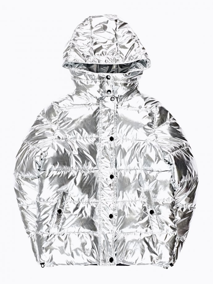 Metallic quilted padded jacket