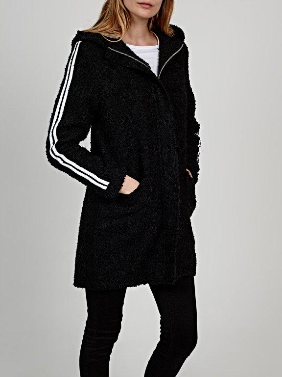 Oversized fuzzy coat with hood