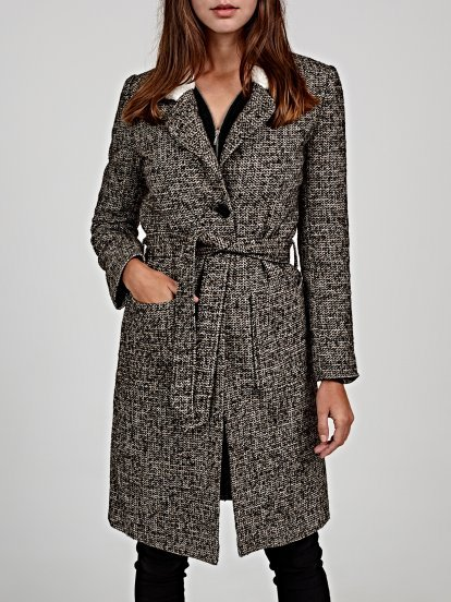 Longline coat with pile detail