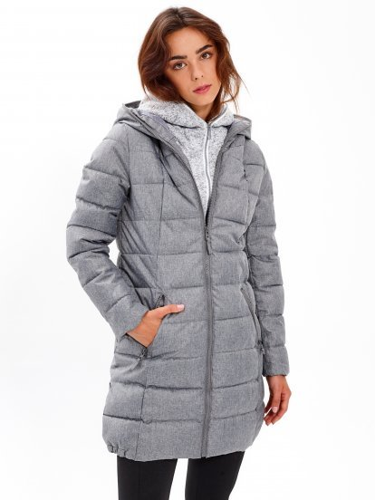 Longline quilted padded jacket with double hood