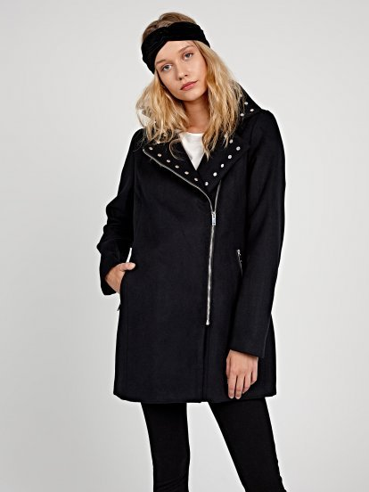 Biker coat with studs detail