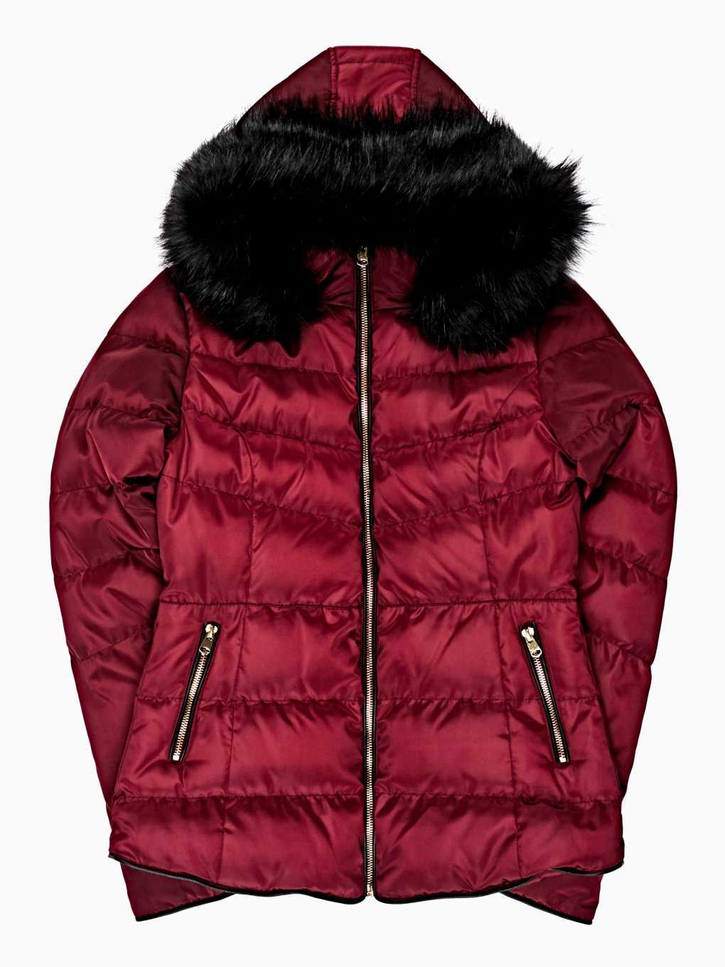 QUILTED PADDED JACKET WITH REMOVABLE FAUX FUR