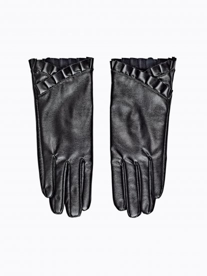 Faux leather gloves with ruffle