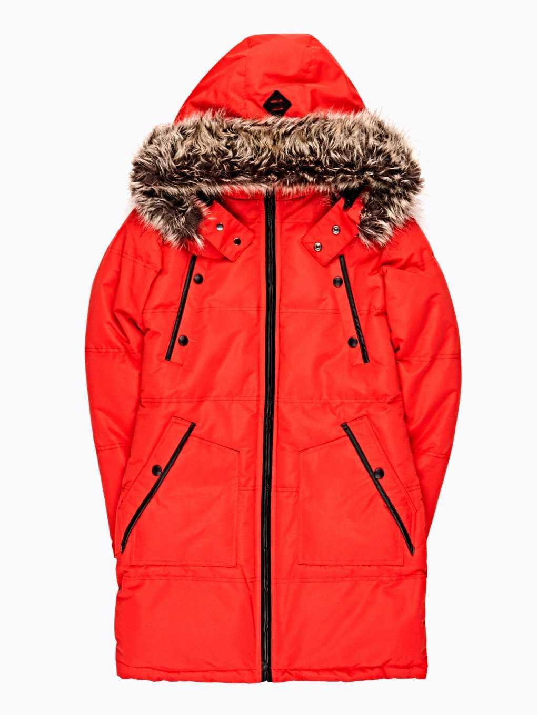 Longline padded nylon jacket with removable hood