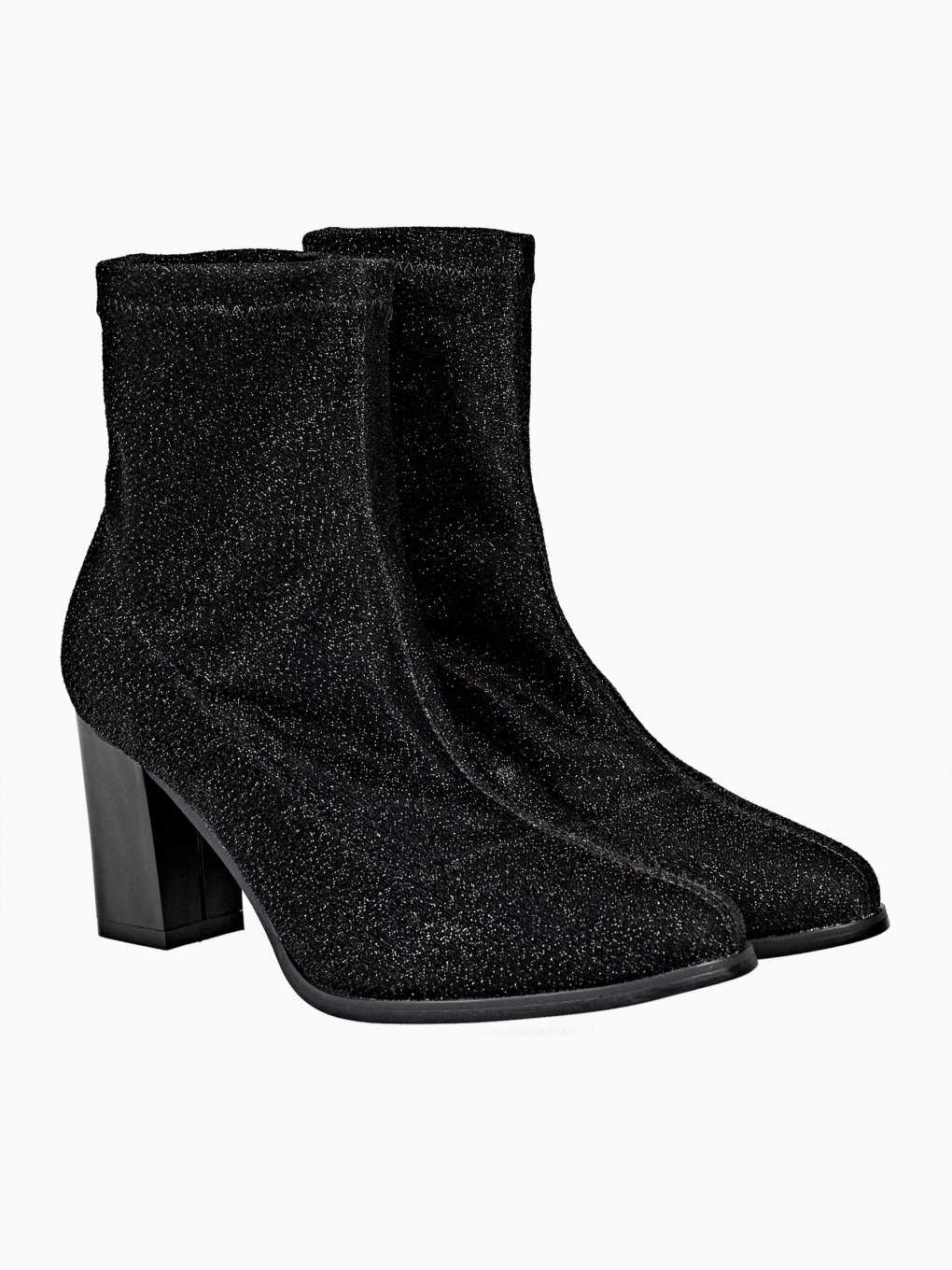 HIGH HEEL GLITTER SOCK STYLE ANKLE BOOTIES