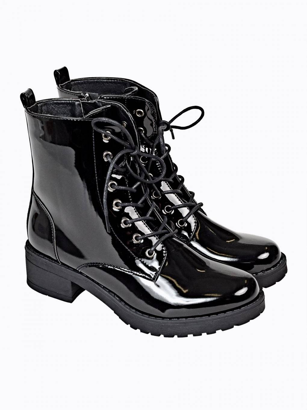 GLOSSY LACE-UP ANKLE BOOTS