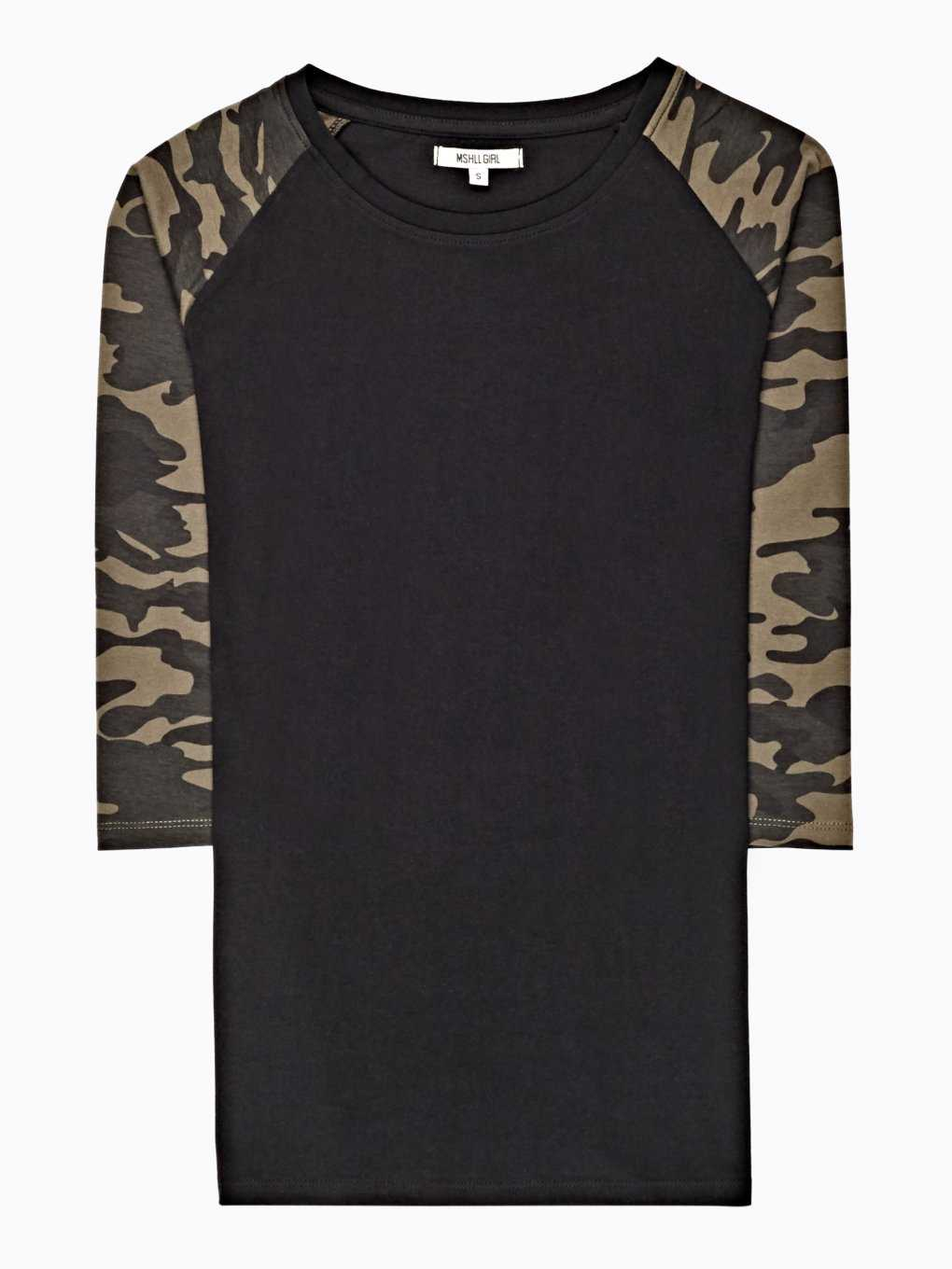 T-SHIRT WITH CAMO PRINT SLEEVES