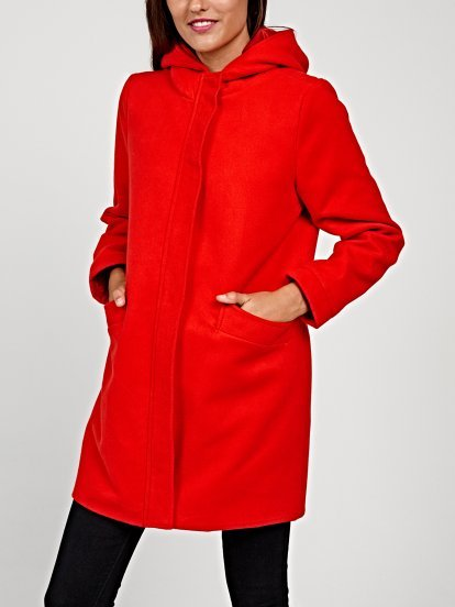 Longline plain coat with hood