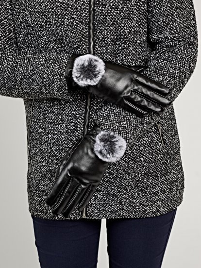Faux leather gloves with pom
