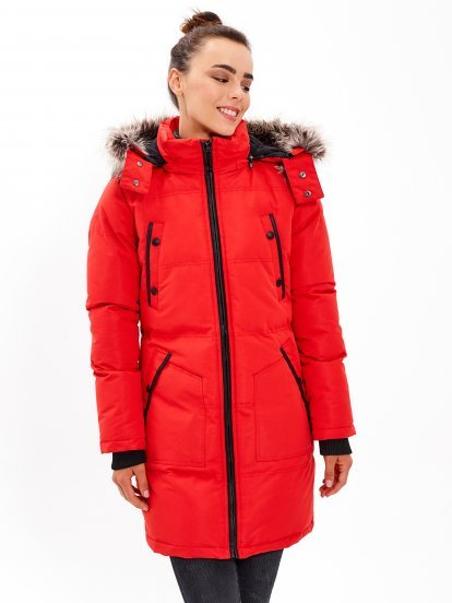 Longline padded nylon jacket with removable hood