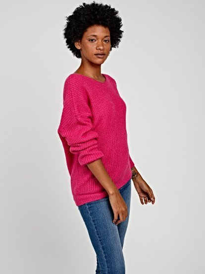 Jumper wit asymmetrical neckline