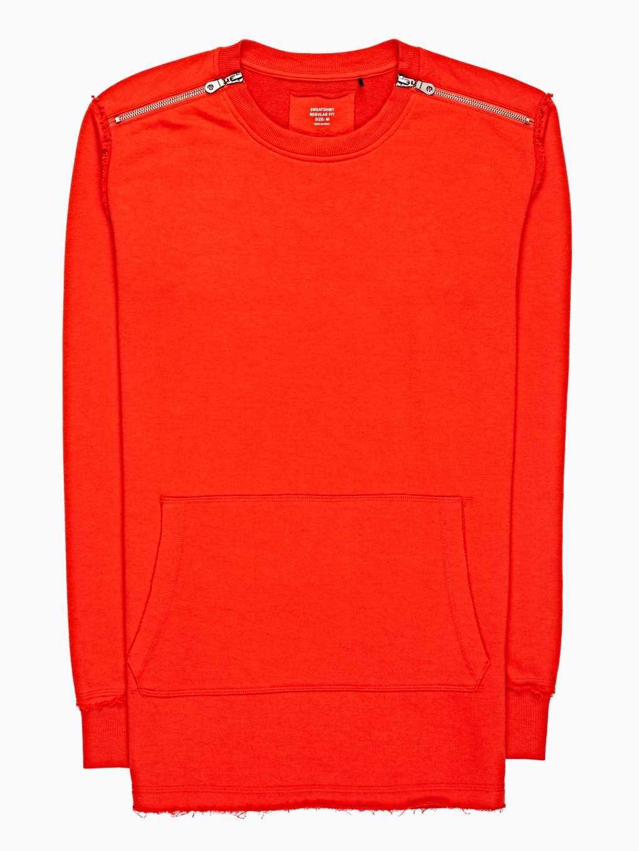 Longline sweatshirt with shoulder zippers