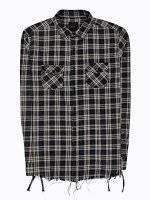 Károvaná košeľa s neopracovaným spodným lemom