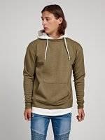 Layered sweatshirt with hood