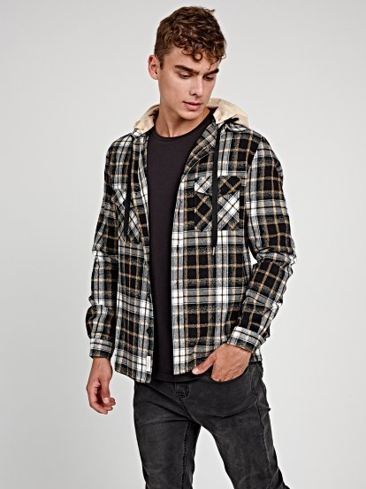 PLAID FLANNEL SHIRT WITH HOOD