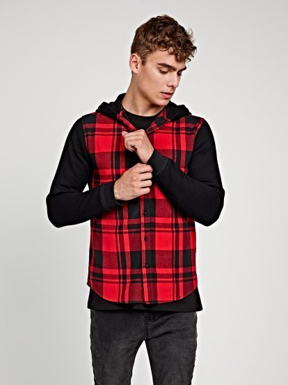 PLAID SHIRT WITH CONTRAST SLEEVES AND HOOD