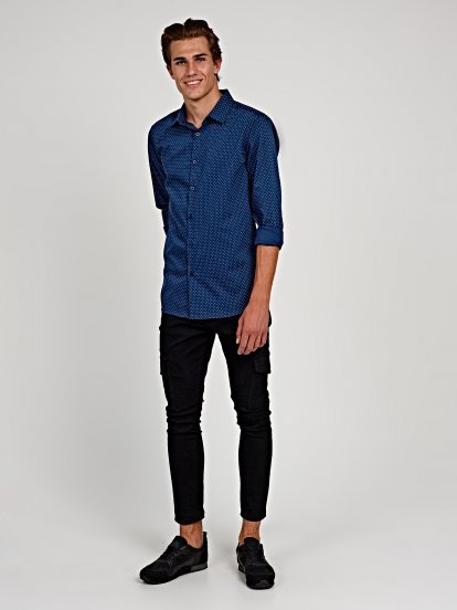 POLKA DOT PRINT SLIM FIT SHIRT