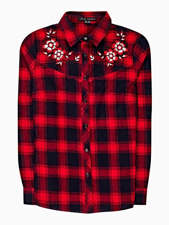 Károvaná bavlnená košeľa s výšivkou
