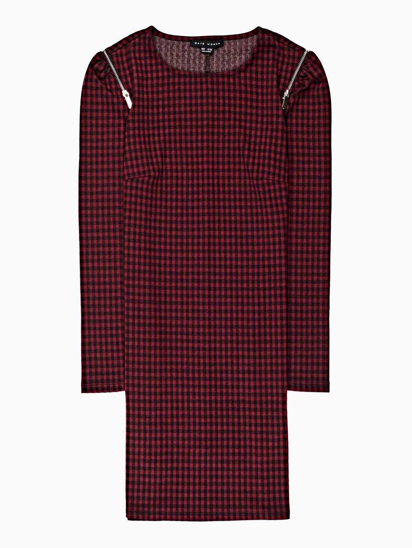 Kostkované šaty se zipy