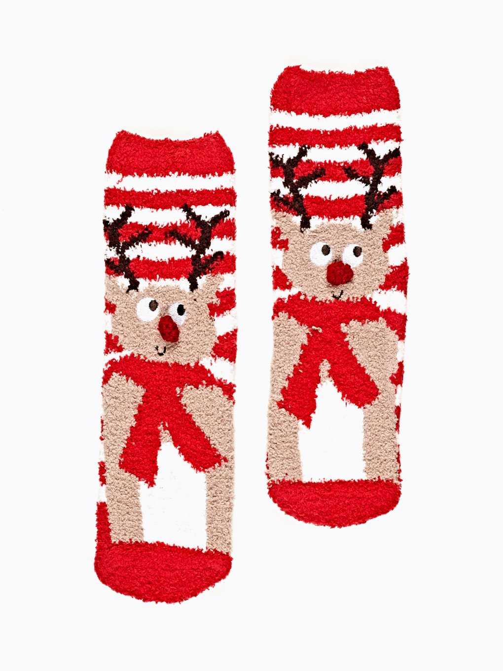 REINDEER COSY SOCKS WITH ANTI-SLIP SOLE