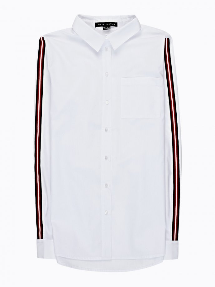 COTTON SHIRT WITH SLEEVE TAPE