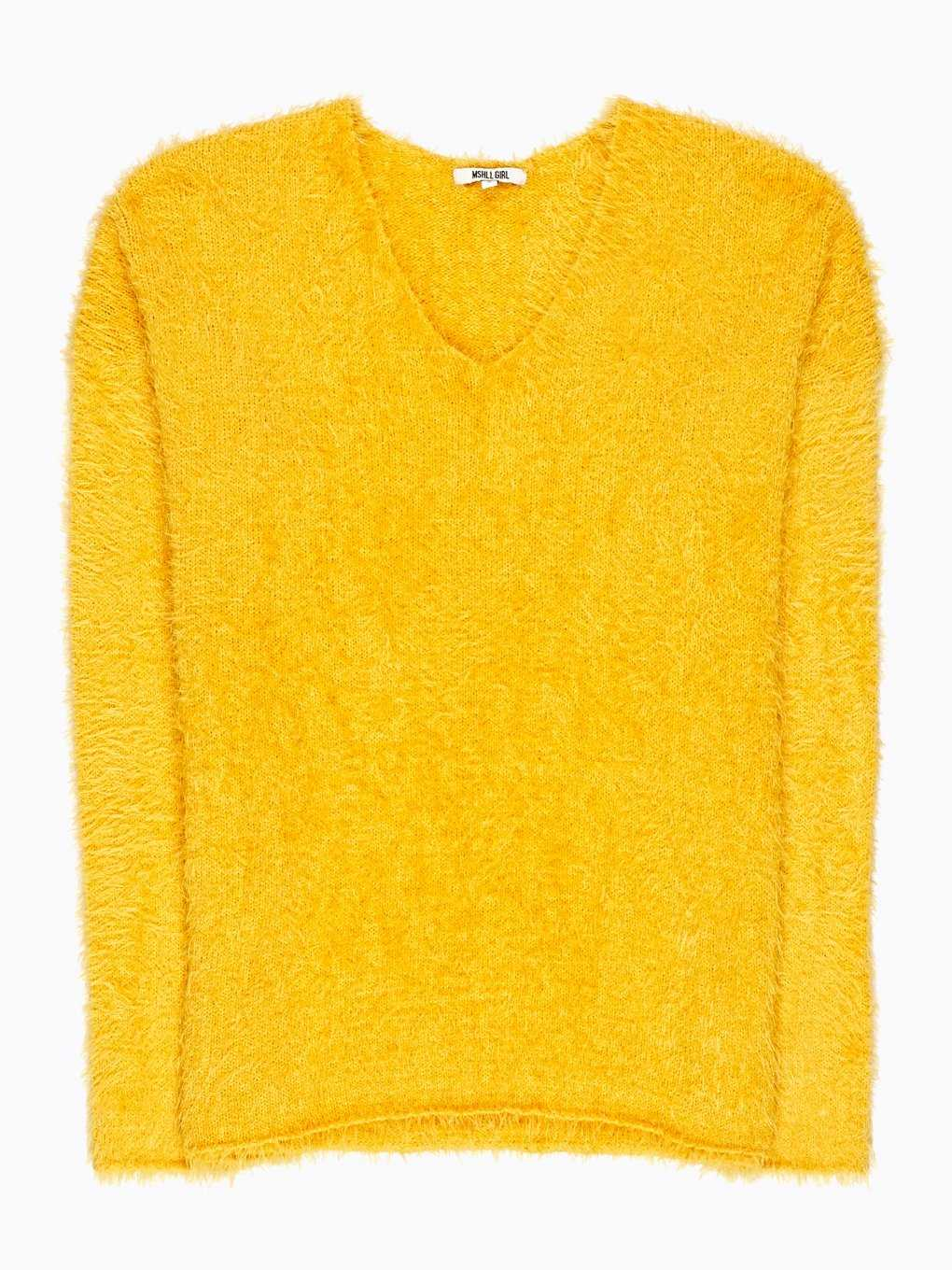 V-neck fluffy jumper