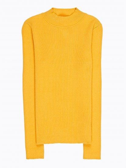 Sweter z żebrowanej dzianiny basic z wysokim kołnierzykiem