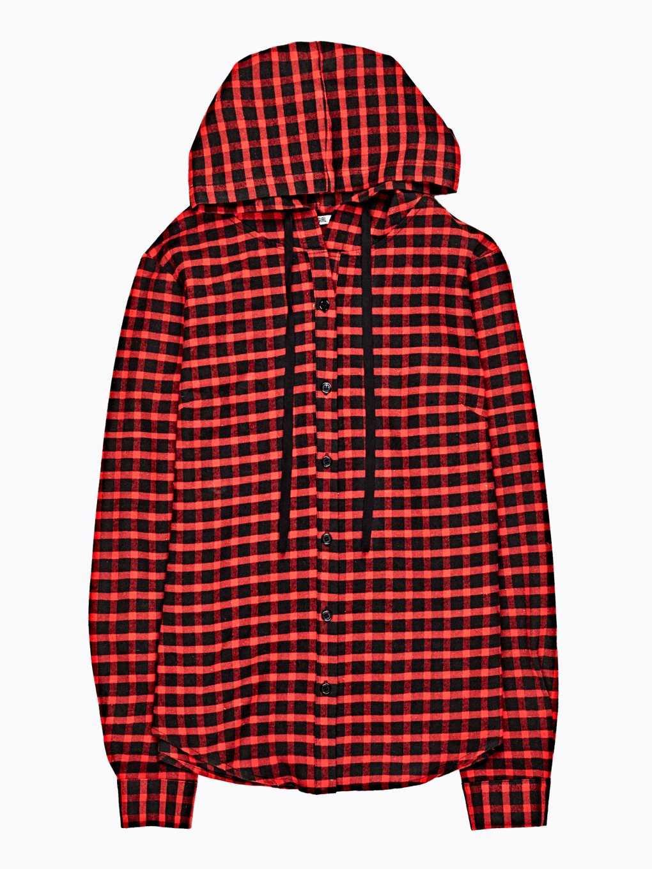 Plaid shirt with hood