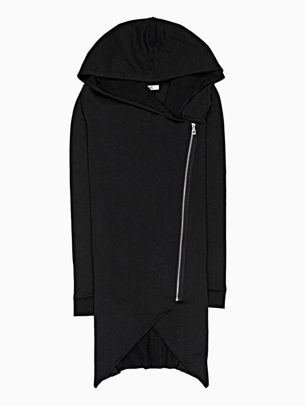 LONGLINE HOODED CARDIGAN WITH ASYMMETRICAL ZIPPER