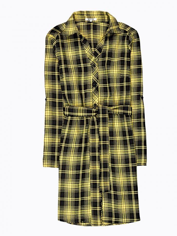 Plaid shirt dress with belt