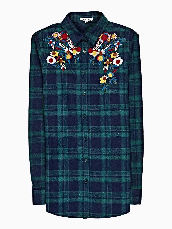 Károvaná košeľa s kvetinovou výšivkou